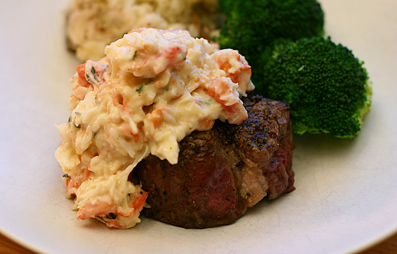 Steak with Crab Sauce