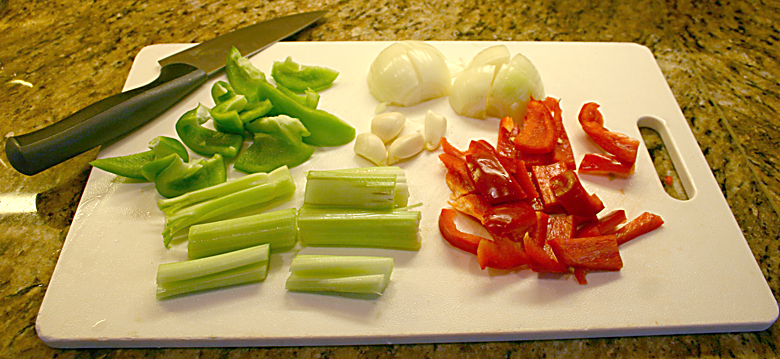 Coarsely chopped vegetables