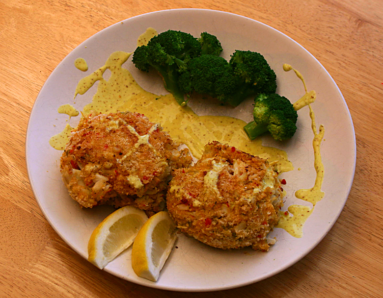 Finished crab cakes